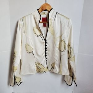 JS Collections Silk Tulip Print Blouse